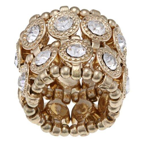 Goldtone Crystal 2-Row Disc Stretch Fashion Ring