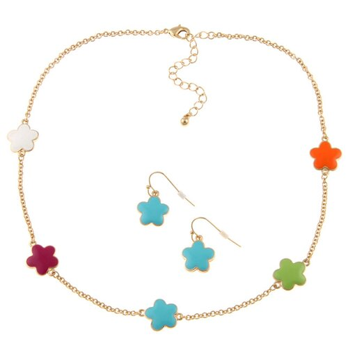 Zirconmania Goldtone Enamel Daisy Necklace and Earring Set