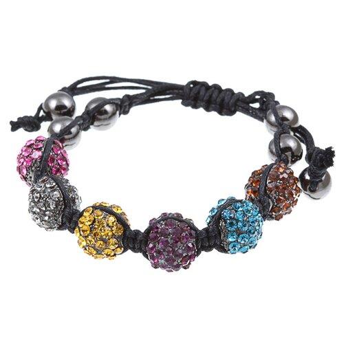 Pave Multi-Color Crystal Beaded Macrame Adjustable Bracelet