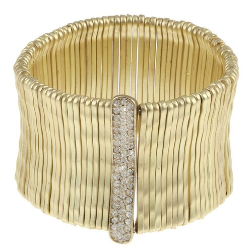 Gold Satin Bamboo Bar Pave-Set Crystal Stretch Bracelet