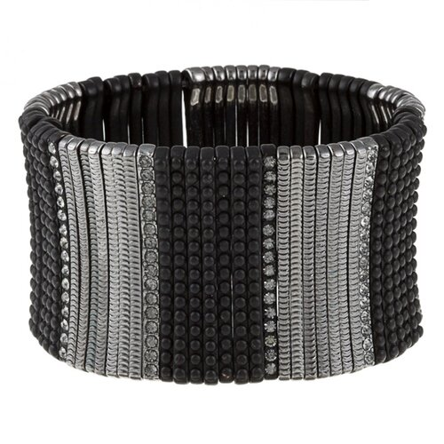 Gunmetal Crystal Stretch Cuff Bracelet