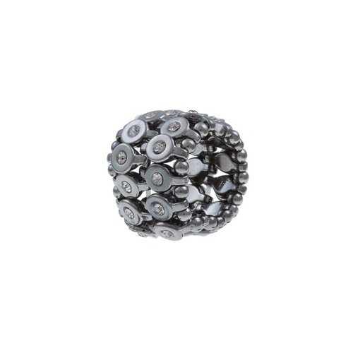 Zirconmania Gunmetal Black Crystal 2-row Disc Stretch Fashion Ring