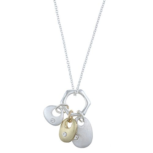 Two Tone 'Cherish' Three Piece Multi-Shapes Whimsical Charm Necklace