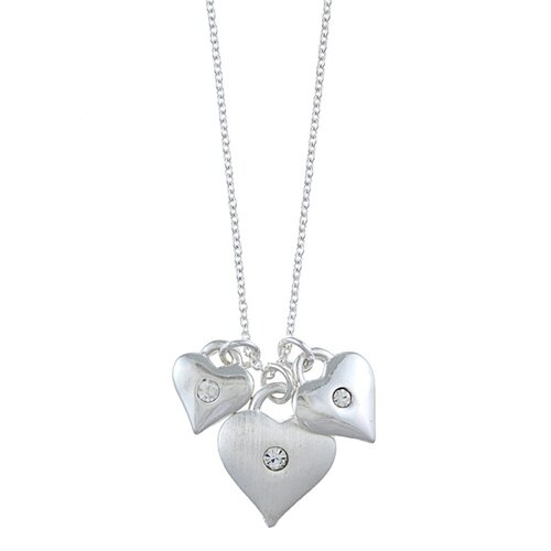 Silvertone Triple Heart and Crystal 'Love' Charm Necklace