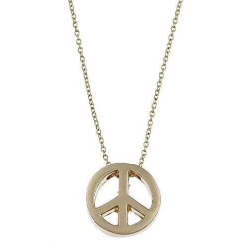 Gold Tone Peace Charm Necklace