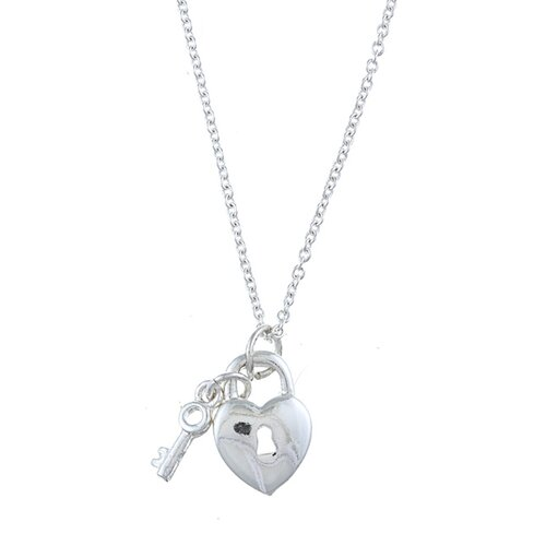 Silver Tone Heart Lock and Key 'Love' Charm Necklace