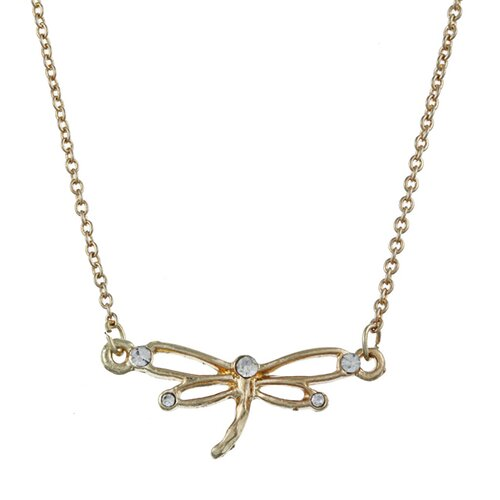 Gold Tone Crystal Dragonfly 'Cherish' Charm Necklace