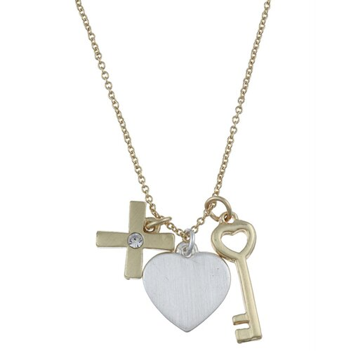 Zirconmania Two Tone 'Hope' Heart, Key and Cross Charm Necklace