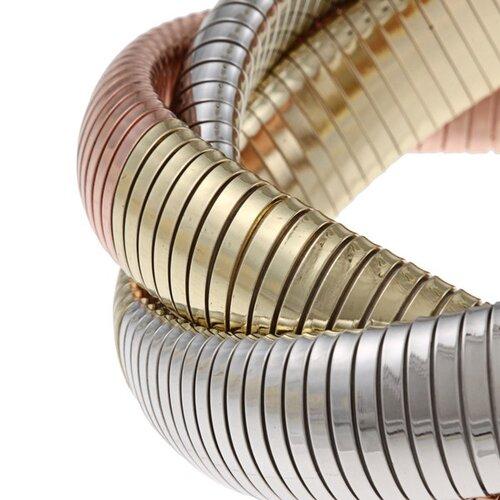 Zirconmania Overlay Tri-Tone Gold Interlocked Omega Stretch Bracelet