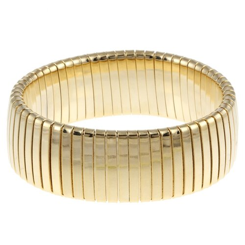 Gold Overlay Wide Omega Stretch Bracelet