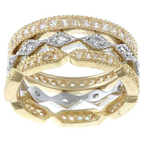 Gold Over Silver and Sterling Silver Cubic Zirconia Rings 3 Piece Set