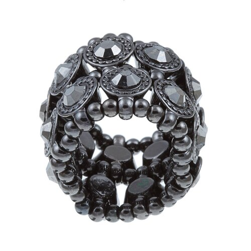 Gunmetal Crystal 2-Row Stretch Fashion Ring