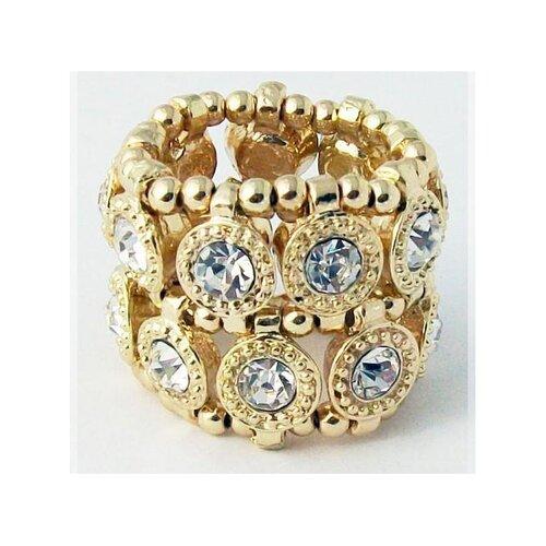 Zirconmania Goldtone Crystal 2-Row Disc Stretch Fashion Ring