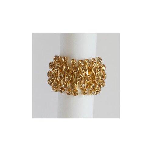 Goldtone Topaz Crystal Honeycomb Stretch Fashion Ring