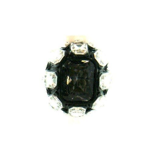 Silvertone Black Crystal Stretch Ring