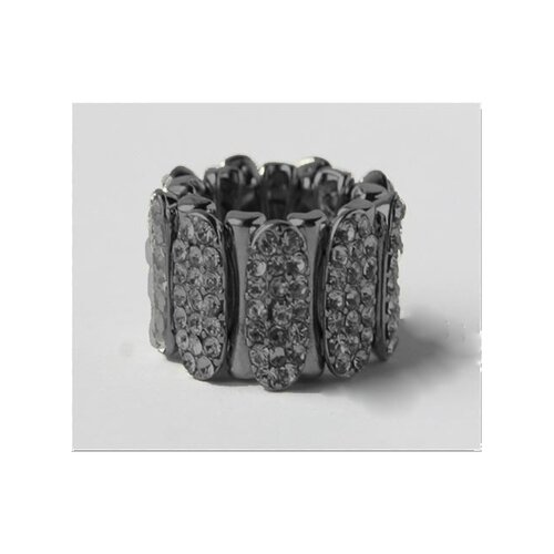 Gunmetal Pave Crystal Sectional Stretch Ring