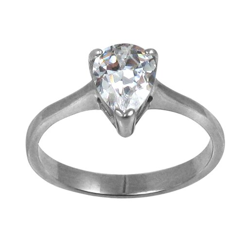Trendbox Jewelry Pear Cut Cubic Zirconia Solitaire Engagement Ring