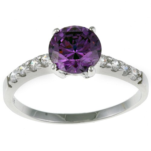 Round-cut Cubic Zirconia Engagement-Style Ring
