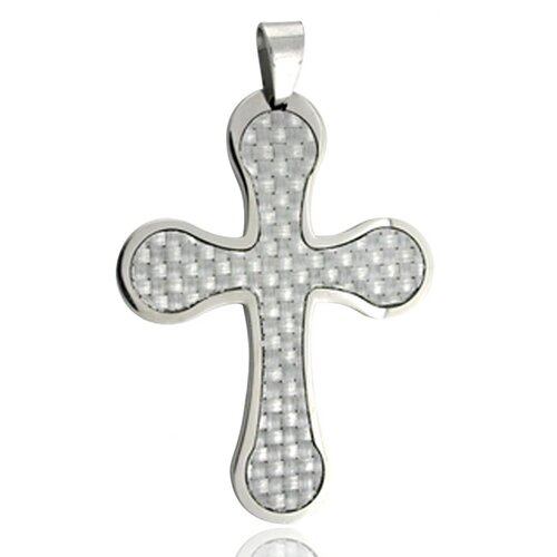Flared Edge Carbon Fiber Cross Necklace