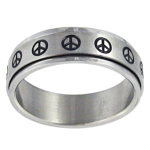 Trendbox Jewelry Peace Sign Spinner Band Ring
