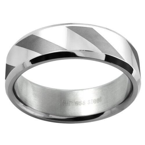 Trendbox Jewelry Ladies Polished and Matte Lined Wedding Band Ring