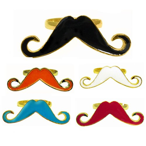 Trendbox Jewelry Enamel Mustache Adjustable Ring