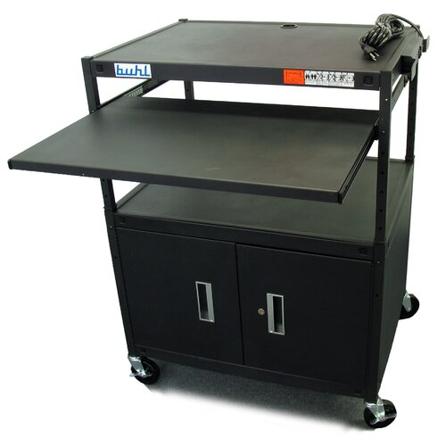Buhl Height Adjustable AV Media Cart with Security Cabinet