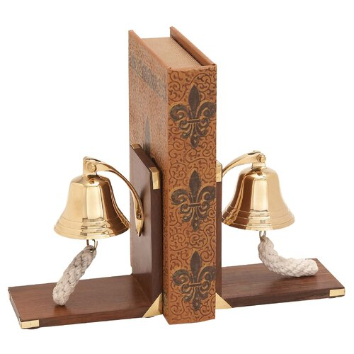 Woodland Imports Wood Brass Book Ends with Bell