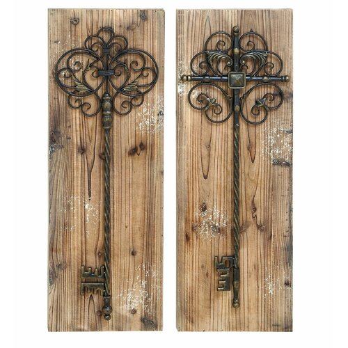 Woodland Imports 2 Piece Enchanting Key Door Wall Décor Set