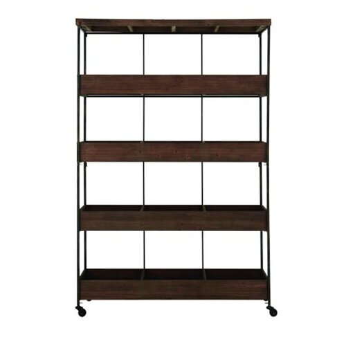 Woodland Imports 4 Tier Metal Wood Rolling Shelf