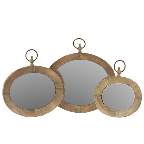 3 Piece Victorian Styled Round Mirror Set