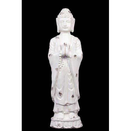 Serene and Glorious Ceramic Polished Standing Buddha Statue