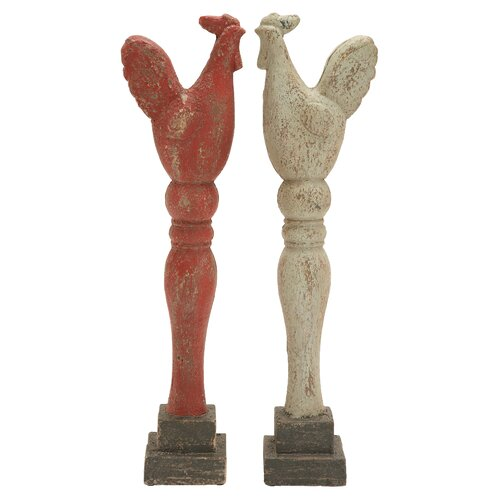 Classic Rooster Assorted Painted Statue (Set of 2)