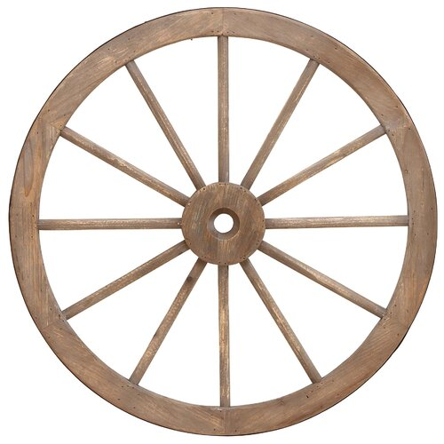 Woodland Imports Metal Wagon Wheel Statue