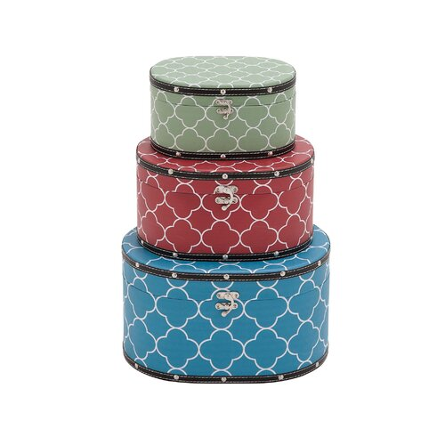 3 Piece Attractive Patterned Wood Vinyl Box Set