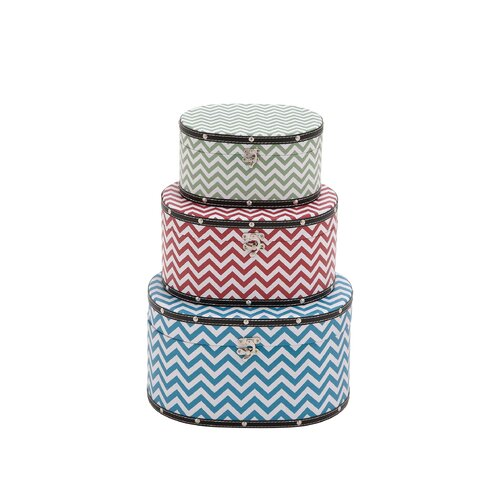 Zig - Zag Patterned 3 Piece Wood Vinyl Box Set