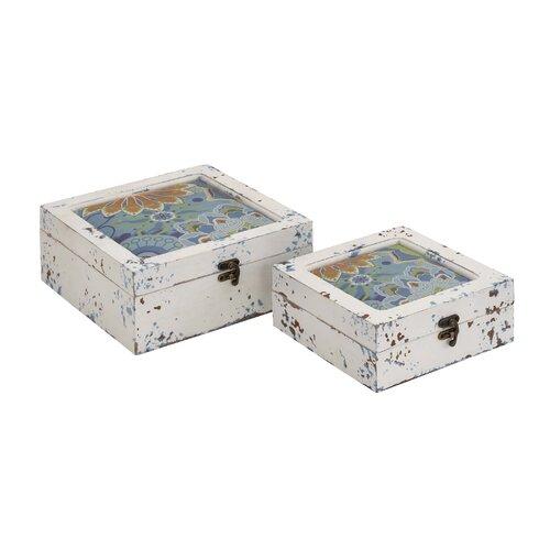 Woodland Imports 2 Piece Wood Box Set