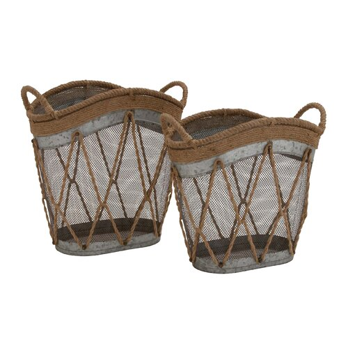 2 Piece Metal Burlap Baskets Set