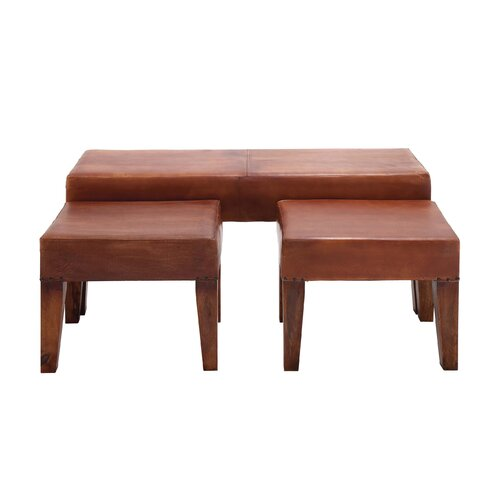 3 Piece Heartthrob Wood Leather Bench Set