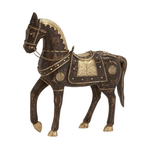 Ever Ready Wood Brass Horse Statue