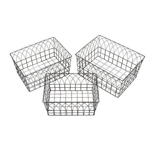 3 Piece Dazzling Yangtze Metal Wire Basket Set
