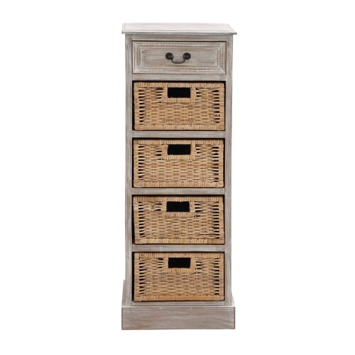 Rustic Wood 4 Basket Chest