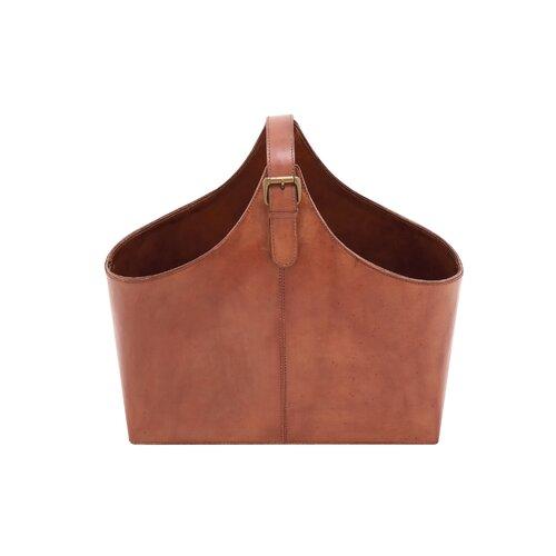 Wood Real Leather Magazine Holder
