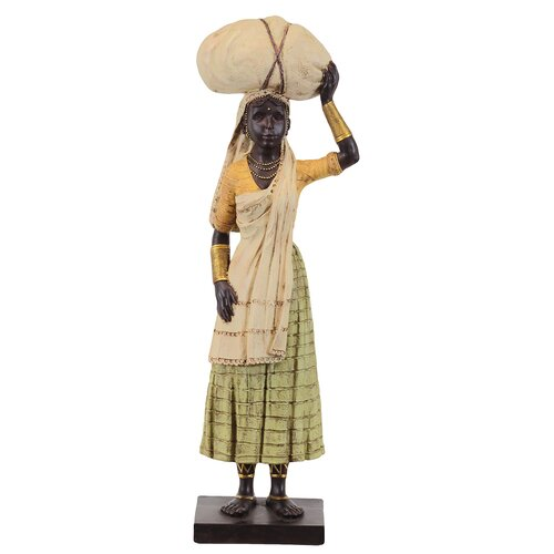 Beautiful and Exceptional Ethnic Village Woman Resin Black Statue