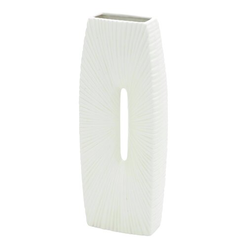 Elegantly Lining Textured Ceramic Vase