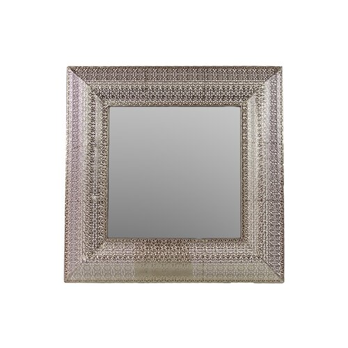 Square Metal Mirror with Embossed Border