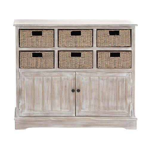 Wood 6 Basket Cabinet