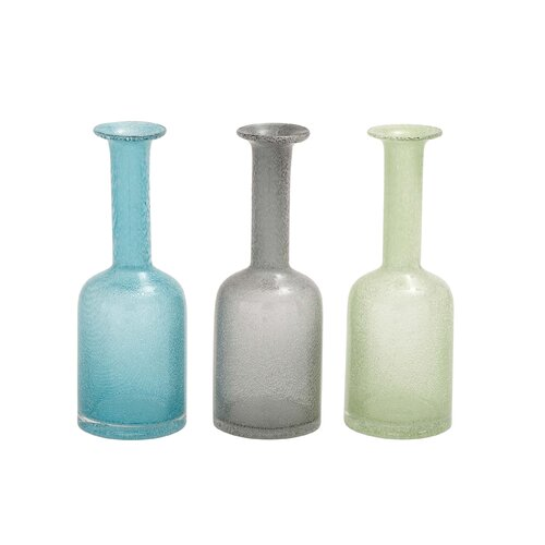 Slender Glass Long Neck Vase (Set of 3)