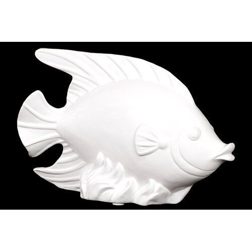 Woodland Imports Finely Sculpted Beautiful Ceramic Fish Statue