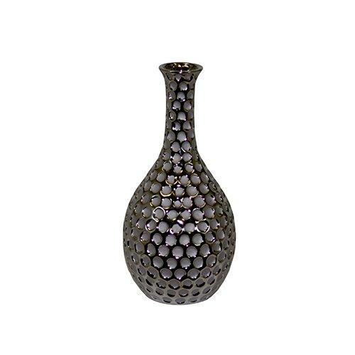Hammered Design and Wide Mouth Ceramic Vase